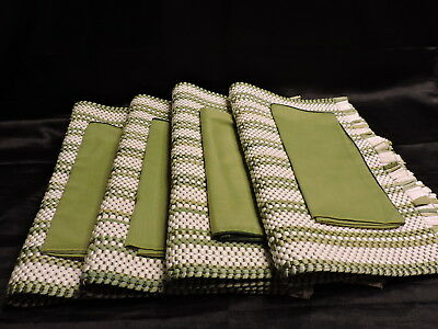 Vintage Set of 4 Green & White Striped Woven Placemats and Green Cloth Napkins