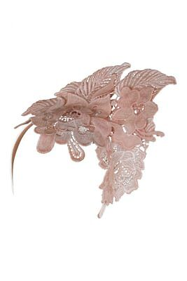Morgan & Taylor Mae Lace Fascinator on a Headband in Nude Pink