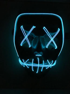 Cross Eye Blue LED Light Up Mask With Blood Halloween Costume Fancy Dress