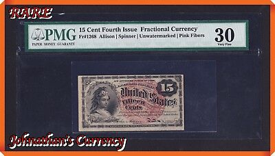 JC&C - Extremely Rare Fractional - Fr.1268 Fourth Issue 15 Cent - VF 30 by PMG