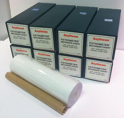 Lot of 8 Raytheon 7430-5001-G1 Fathometer Recorder Chart Thermal Paper 0-200 Ft.