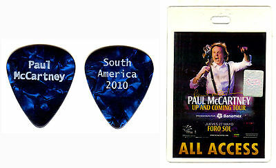 PAUL McCARTNEY-2010 'UP AND COMING' TOUR-REAL TOUR GUITAR PICK & BACKSTAGE PASS!