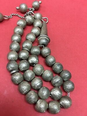Hand Made Antique  925 Silver Prayers Beads 33 Beads Rosary Very Rare 26 G ##