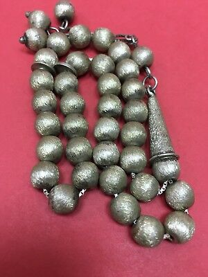 Hand Made Antique  925 Silver Prayers Beads 33 Beads Rosary Very Rare 36 G ##
