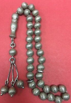 Hand Made Antique  925 Silver Prayers Beads 33 Beads Rosary Very Rare 46 G ##