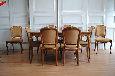 SALE ! Vintage French Louis XV Extending Dining Suite  8 Chairs - Apartment !