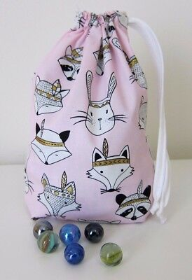 Drawstring Marbles Bag Small Toy Storage Bags Gift Bag Rabbit Fox Raccoon Forest