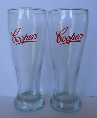 Coopers Beer Red Pair of Glasses brand new for home bar pub brew or collector