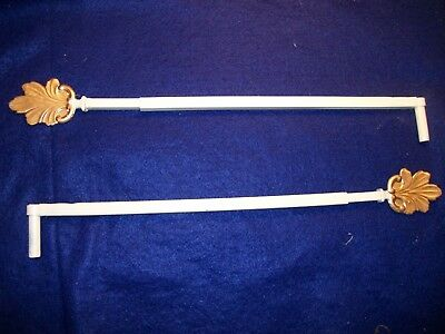 Vintage-Old-Antique- Cast  Swing A Way Drapery -Curtain Rods- 2 Each