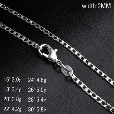 2Mm Curb  Silver Chain Necklace 925 Sterling Plt Chains