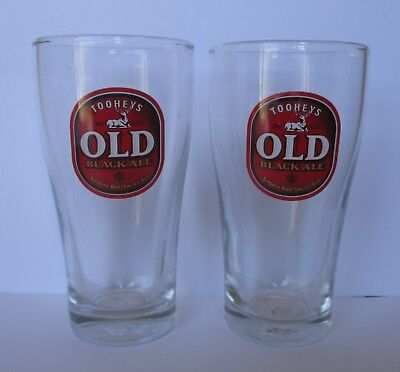 Tooheys Old Black Beer Pair of Glasses brand new for home bar pub brew collector