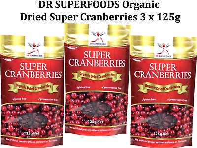 3 x 125g DR SUPERFOODS Organic Dried Super Cranberries