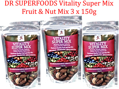 3 x 150g DR SUPERFOODS Vitality Super Mix  Dried Blueberry Cranberry Goji & more