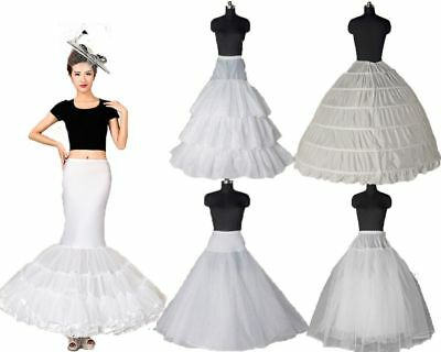 White Crinoline/Petticoat Wedding Slips Underskirt A Line/Mermaid Hoops US Stock