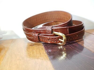 "NEW Saddle Leather Triple K 53A Ranger Belt 1 3/4"" Walnut Oil Basket Weave 32"""