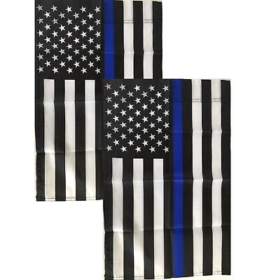 "(2) Thin Blue Line American Garden Flags - 12"" x 18"" - Small Police Yard Banner"