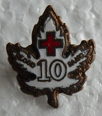Vintage Canadian Red Cross 10 Year Blood Donor Pin