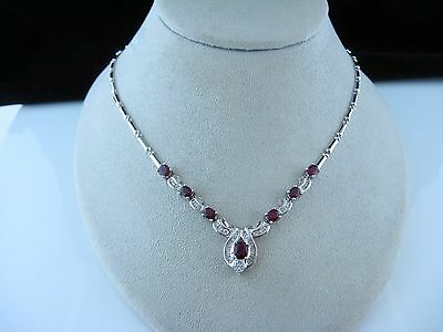 Gorgeous Ladies 18kt White Gold Necklace 4.50cts Rubies & 1.40cts Diamonds