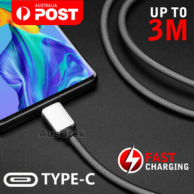 3A Braided Type-C USB-C Fast Charger Cable Cord 1M 3M For Samsung S10 S9 Note 9