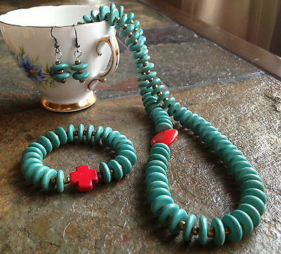 Handmade Western Cowgirl Red Heart Turquoise Necklace Jewelry Set