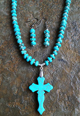 Handmade Western Cowgirl Turquoise Cross Necklace Jewelry Set