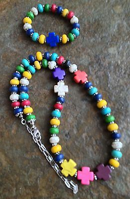 Handmade Western Cowgirl Multi-Colored Beads and Crosses Necklace & Bracelet