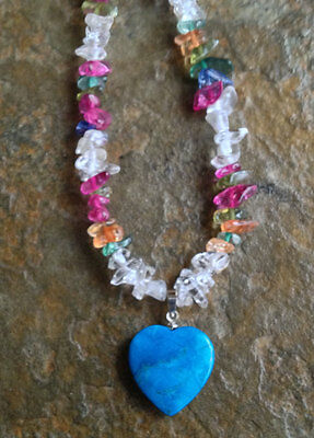 Handmade Rainbow Agate Chip Necklace with Turquoise Heart Pendant & Earrings