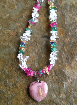 Handmade Rainbow Agate Chip Necklace with Pink Heart Pendant and Agate Earrings