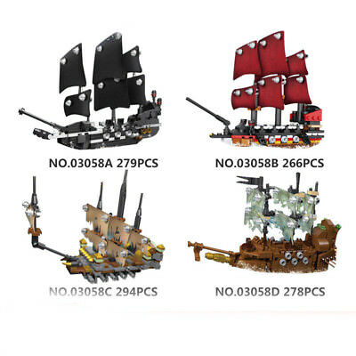Movie Black Pearl Queen Anne's Reveage Slient Mary Ship Set Building Blocks 4-1