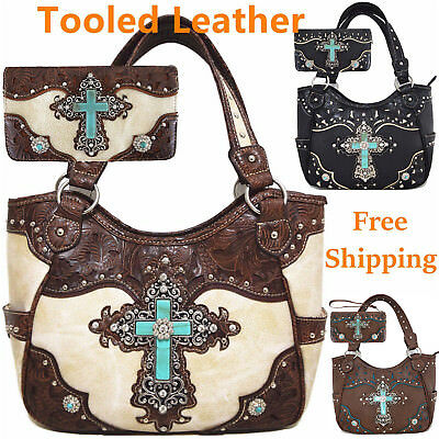 Western Rhinestone Cross Handbag Women Country Totes Tooled Leather Purse Wallet