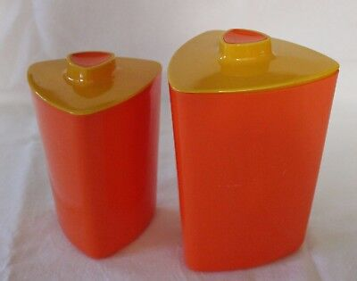 VINTAGE 1960s  Sunny Yellow Vibrant Orange Triangular Shaped Plastic Canisters