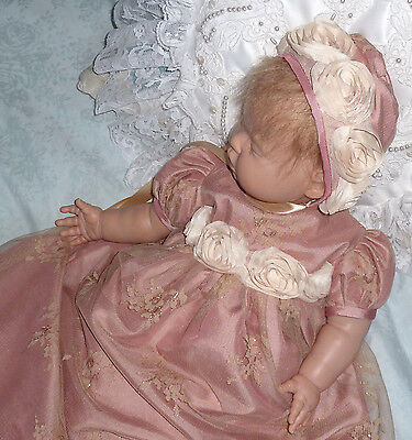 "Vintage Style Baby dress 0-3m baby or 16-20"" reborn doll. Special Occasion Wear"