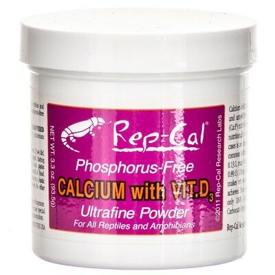 Rep Cal Calcium with Vitamin D3 Ultrafine Powder for Reptiles Amphibians 3.3 oz