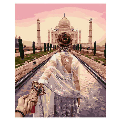 Unframe Acrylic Painting By Number Kit Canvas Girl at Taj Mahal Art Painting