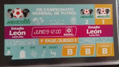 World Cup ticket 1986 Leon 9th june