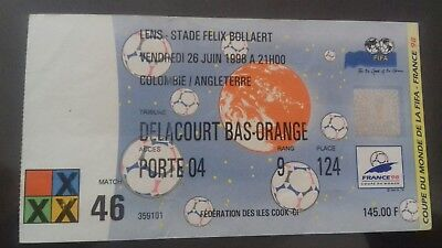 1998  World Cup ticket match 46 England v Columbia used