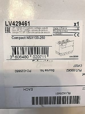 Schneider LV429461 3 P 125amp CT Module For Compact  NSX100-250 New