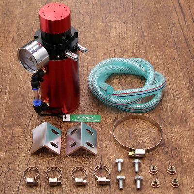 Hot Red Universal Racing Engine Oil Catch Can Tank Breather Filter Gauge