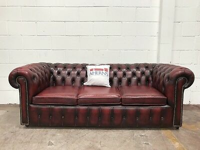 *SUPERIOR Vintage Oxblood Leather Chesterfield 3 Seater Sofa L🇬🇧🇬🇧K*