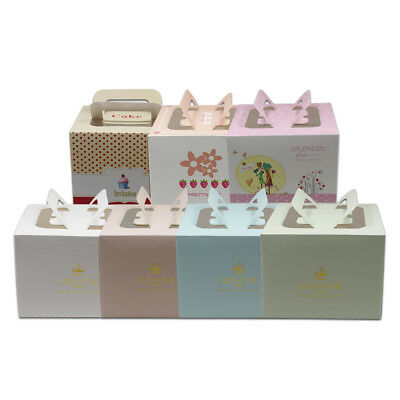 """13.5x13.5x10cm Various Color Paper Box with Handle for 4"""" Cake Packaging Box"""