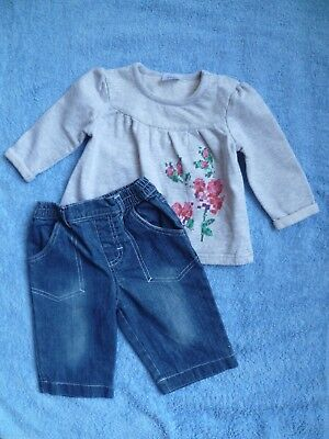 Baby clothes GIRL 6-9m outfit sweatshirt top L/S/denim jeans 2nd item post-free!