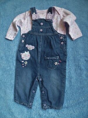 Baby clothes GIRL 6-9m outfit denim dungarees/L/S pink top 2nd item post-free!