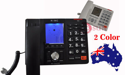 Black White Desktop Caller ID Hands Free Home Office Corded Phone Telephone