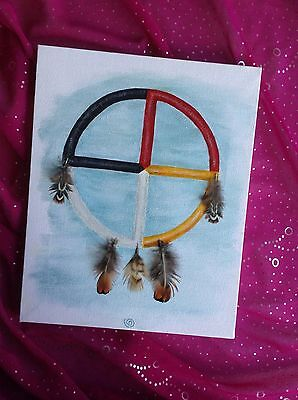 Sioux Medicine Wheel Painting with Real Feathers