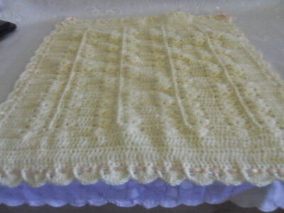 Cream Crochet Doll Blanket for Prams/Cots or Bassinets in 5 ply Wool