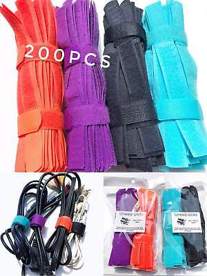 Pack of 200pcs 180mmx 20mm Cable Cord Tie Strap Reusable Hook and Loop Fastening