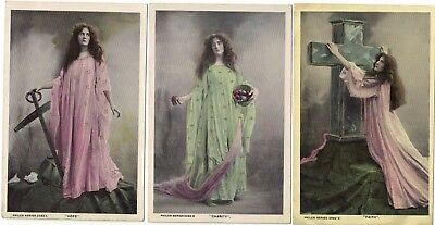 3 Real Photograph Vintage Postcards Faith Hope and Charity early 1900s Glamour