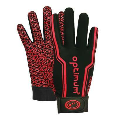 Optimum Sports Velocity Thermal Rugby Anti Slip Full Finger Grip Gloves - Red