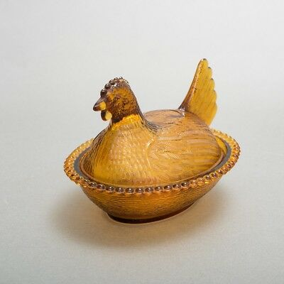 "Antique Amber Glass Hen on Nest Dish 7"" Long Chicken Lid Covered Excellent!"