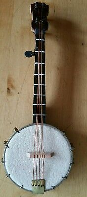 BANJO - MINIATURE COLLECTABLE  BANJO 8cm IN CASE - WOODEN -  BOXED
